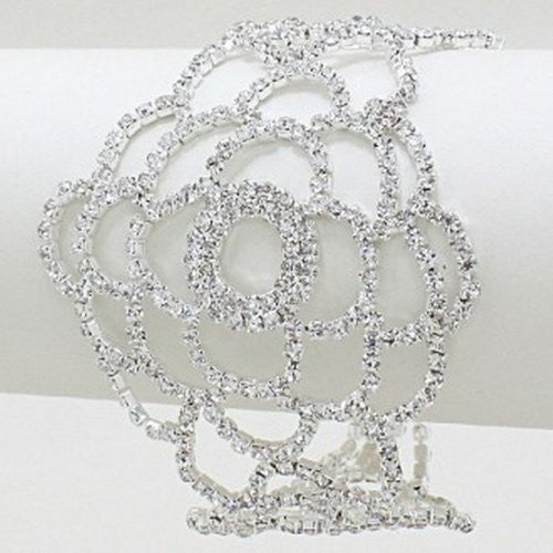 Bling Crystal Rhinestone Rose Bridal Wedding Evening Bracelet Silver Tone