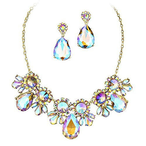 On Trend Purple, Aqua, Bronze Colors Crystal Rhinestone Faceted Statement Necklace Set Gold Tone