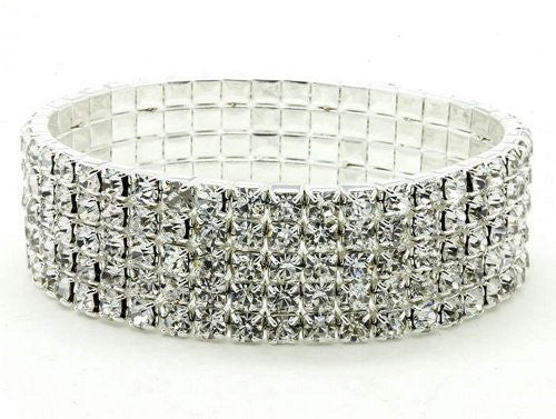 Blinged Out Beautiful 5 Row Bridal Bridesmaid Rhinestone Bracelet Stretch Style