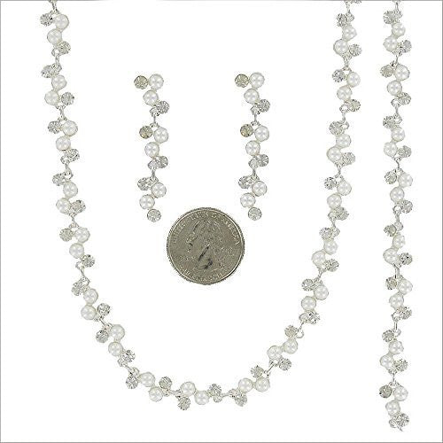 3 Piece White Pearl Bridal Necklace Set With Earrings, Bracelet Prom Earring Set AC3
