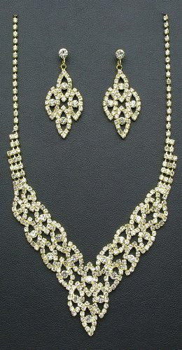 Blingy Crystal Rhinestone V Style Bridal Bride Necklace Earring Set Gold Tone