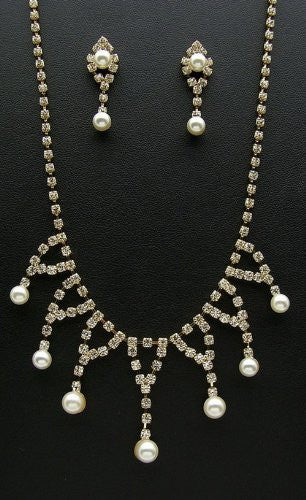 Blingy Crystal Rhinestone Cream Pearl Bridal Bride Necklace Earring Gold Tone CM8