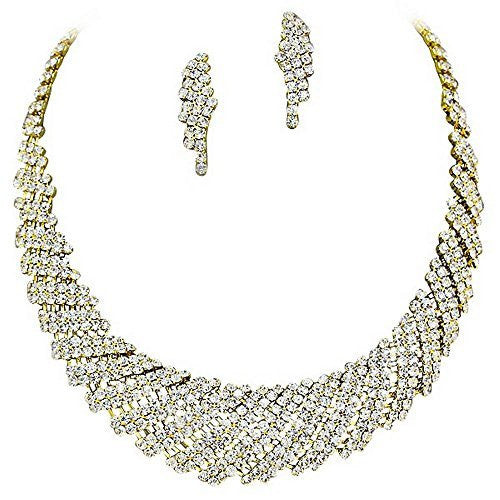 Gold Retro Vintage Sparkly Rhinestone Bridal Party Necklace Earring Set Bling