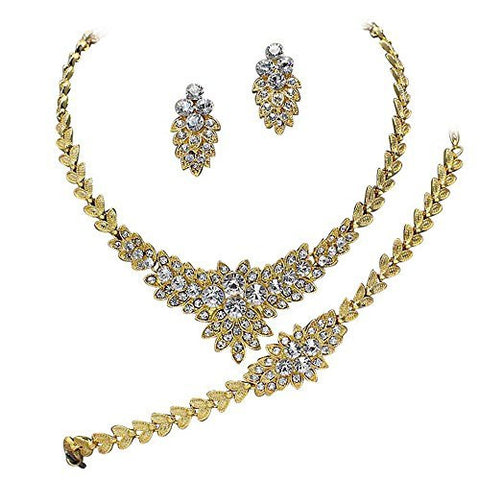 Designer Inspired 3 Piece- Necklace Earring Bracelet Bridal Set Crystals Gold Tone DF4