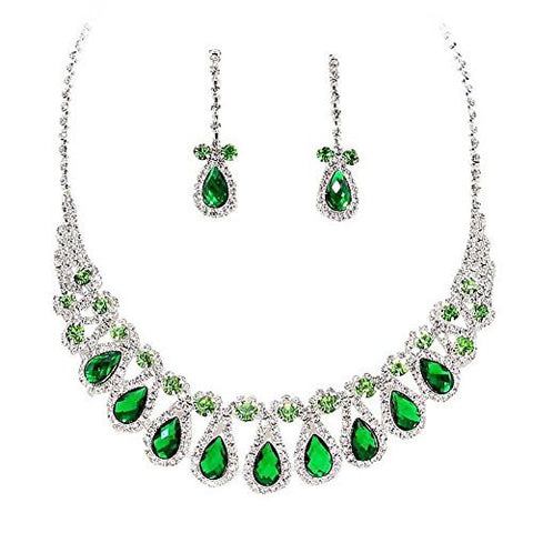 Emerald Green W Lime Accents Rhinestone Teardrop Loop Collar Necklace Set Bridal Bridesmaid prom DP4
