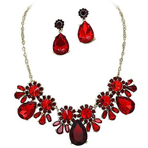 On Trend Regal Red Rhinestone Faceted Statement Necklace Set Bridesmaid Party Gold Tone