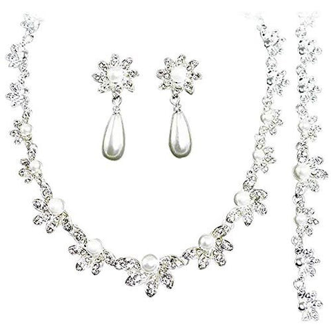 Designer Inspired 3 Piece Bridal Bridesmaid White Pearl Necklace, Bracelet and Earring Set