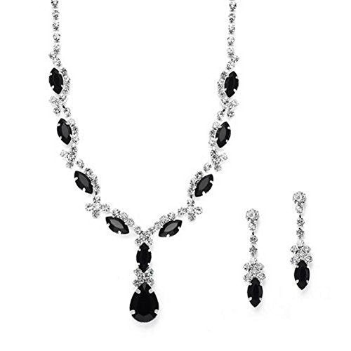 Beautiful Y Drop Evening Party Black Bridal Bridesmaid Necklace Earring Rhinestone Bling