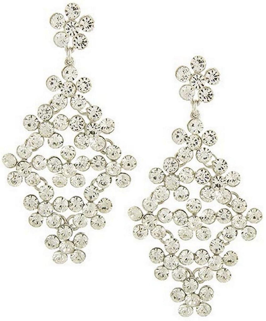 "Clear Crystal Flower Rhinestone Large Dangle 4"" New Vintage Earring Set"
