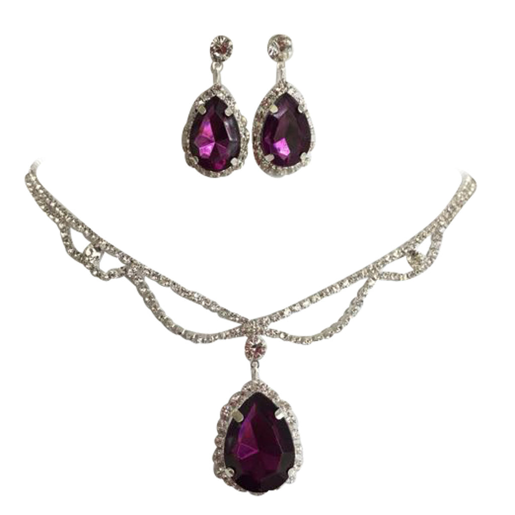 Eggplant Plumb Purple Statement Teardrop Bridal Bridesmaid Necklace Earring Set Silver Tone