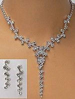 Exquisite Bridal Necklace Earring Set Silver W Rhinestones to Sparkle