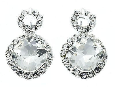 Lovely Circle Drop Crystal Vintage Style Bridal Earrings W Silver Tone