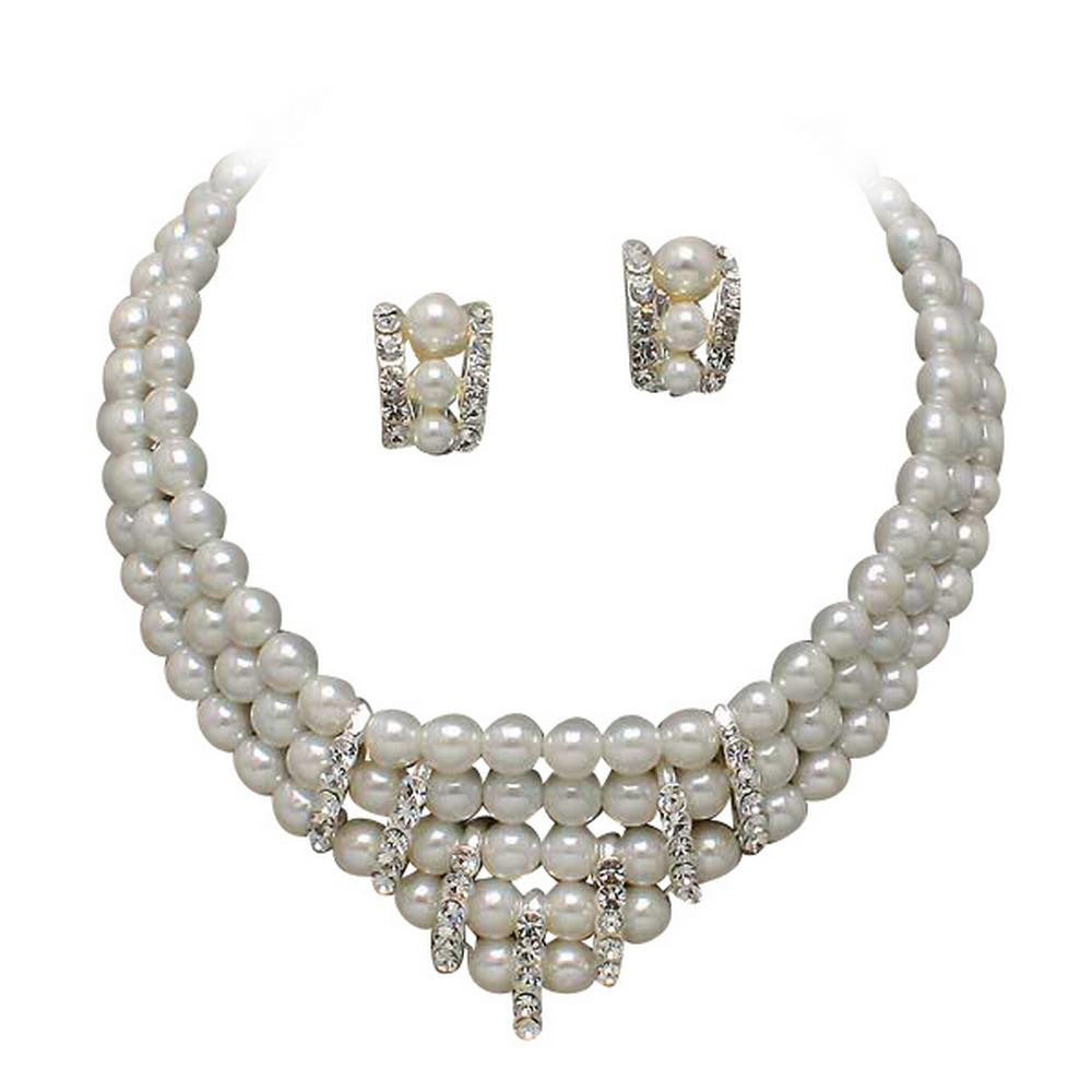 CLIP ON EARRINGS & 3 Strand V Neck White Pearl and Rhinestone Bridal Necklace