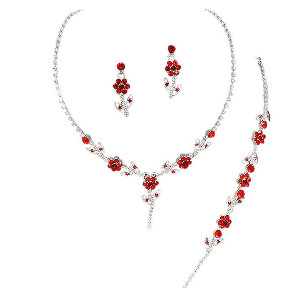 Elegant Red 3 Piece Y Drop Crystal Bridesmaid Bridal Necklace Earring Bracelet Set Wedding Bling N3