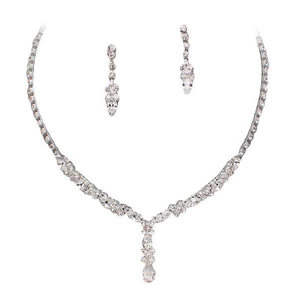 Beautiful Y Drop Evening Party Clear Bridal Bridesmaid Necklace Earring Rhinestone Bling Silver Tone