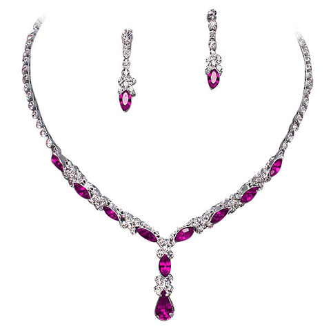 Beautiful Y Drop Evening Party Wine fuchsia Bridal Bridesmaid Necklace Earring Rhinestone Bling Q2