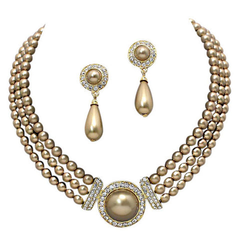 Elegant 3 Strand Bronze Brown Pearl on Gold Tone Drop Bridal Necklace Earring Set