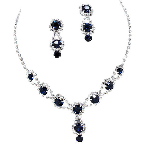 Stunning Y Drop Evening Party Sapphire Blue Crystal Bridal Bridesmaid Necklace Earring B6