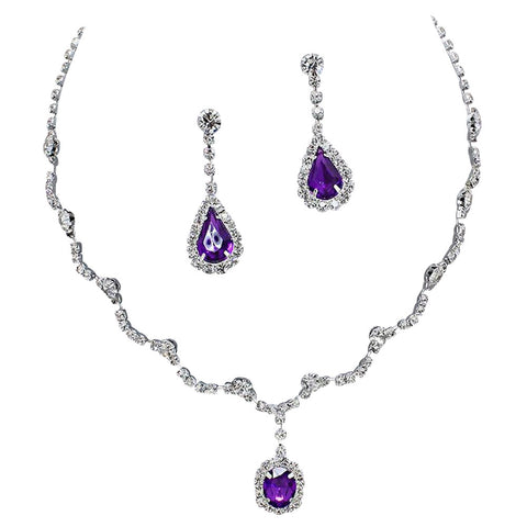 Elegant Purple Scallop Y Drop Crystal Bridesmaid Bridal Necklace Earring Set Wedding Bling