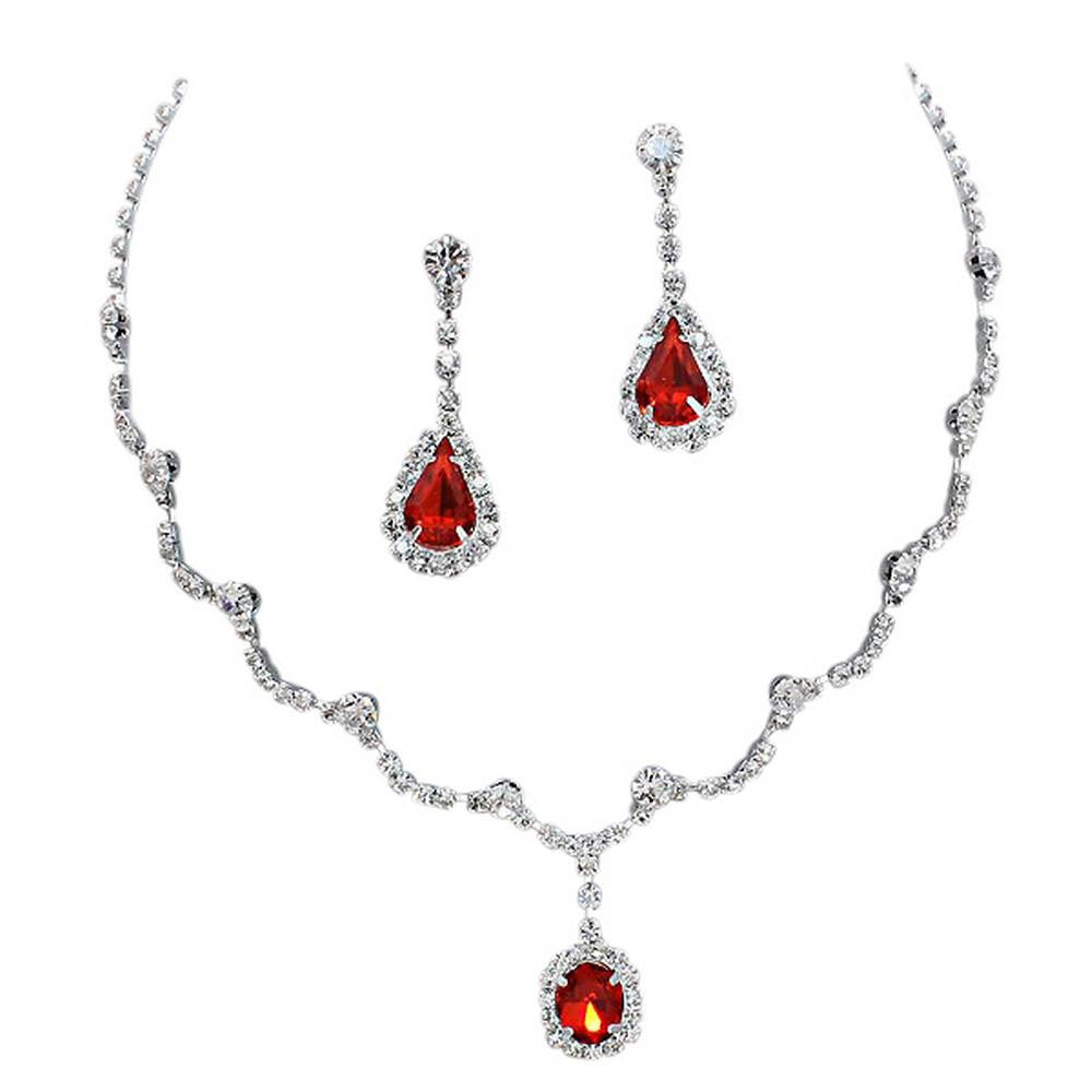 Elegant Red Scallop Y Drop Crystal Bridesmaid Bridal Necklace Earring Set Wedding Bling P3