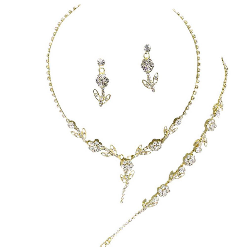 Elegant 3 Piece Gold Y Drop Crystal Bridesmaid Bridal Necklace Earring Bracelet Set Wedding Bling Gold O2