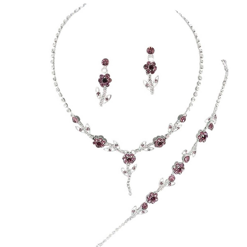 Elegant Lite Purple 3 Piece Y Drop Crystal Bridesmaid Bridal Necklace Earring Bracelet Set Wedding Bling N5