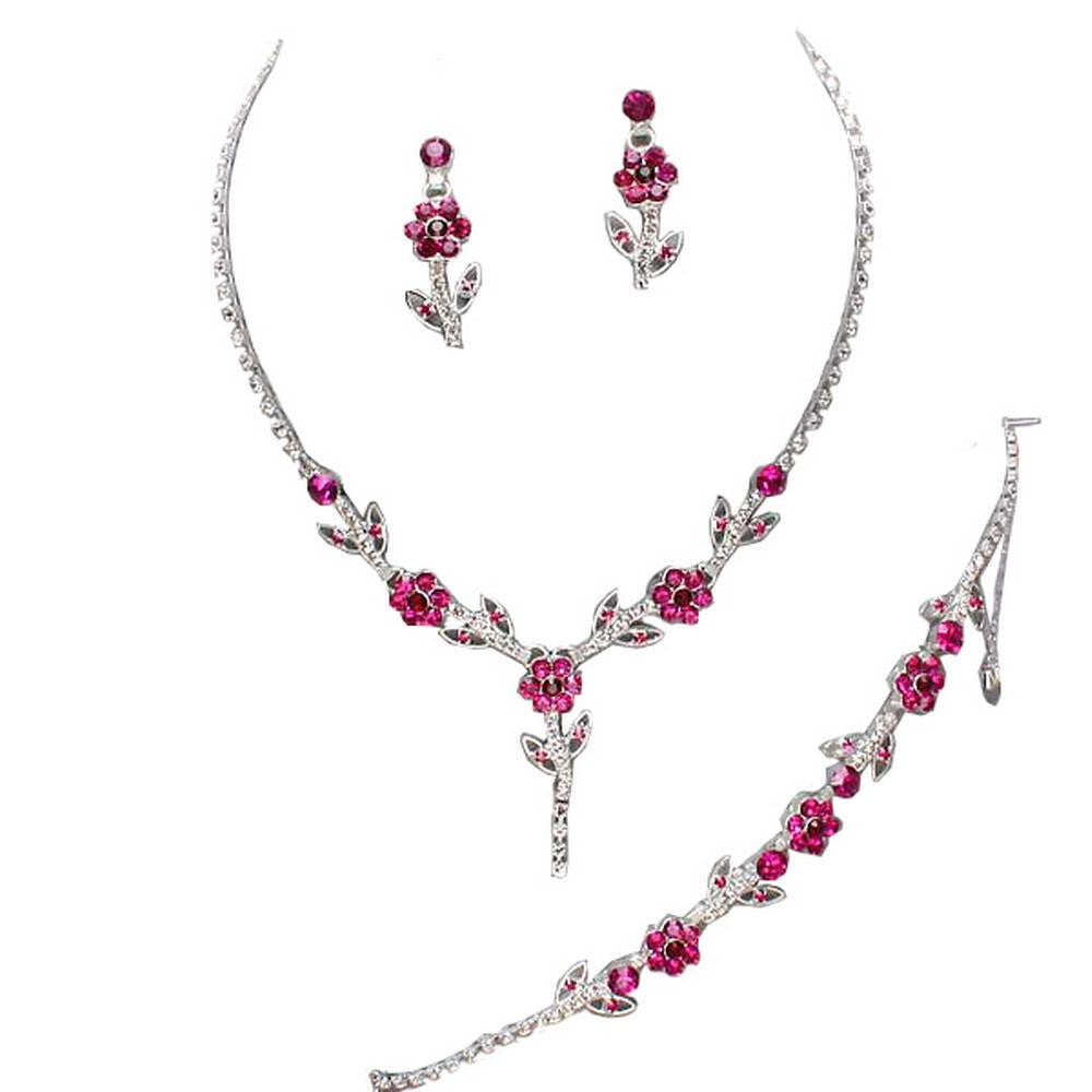 Elegant Fuchsia Pink 3 Piece Crystal Y Drop Bridesmaid Bridal Necklace Earring Bracelet Set Wedding Bling N4