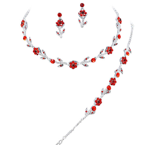Elegant Red 3 Piece Crystal Bridesmaid Bridal Necklace Earring Bracelet Set Wedding Bling L3