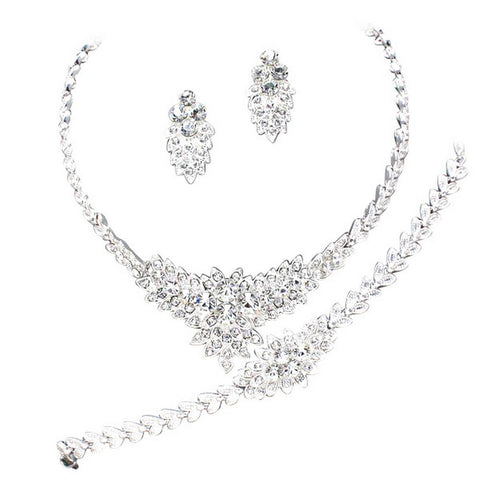 Designer Inspired 3 Piece- Necklace Earring Bracelet Bridal Set Crystals