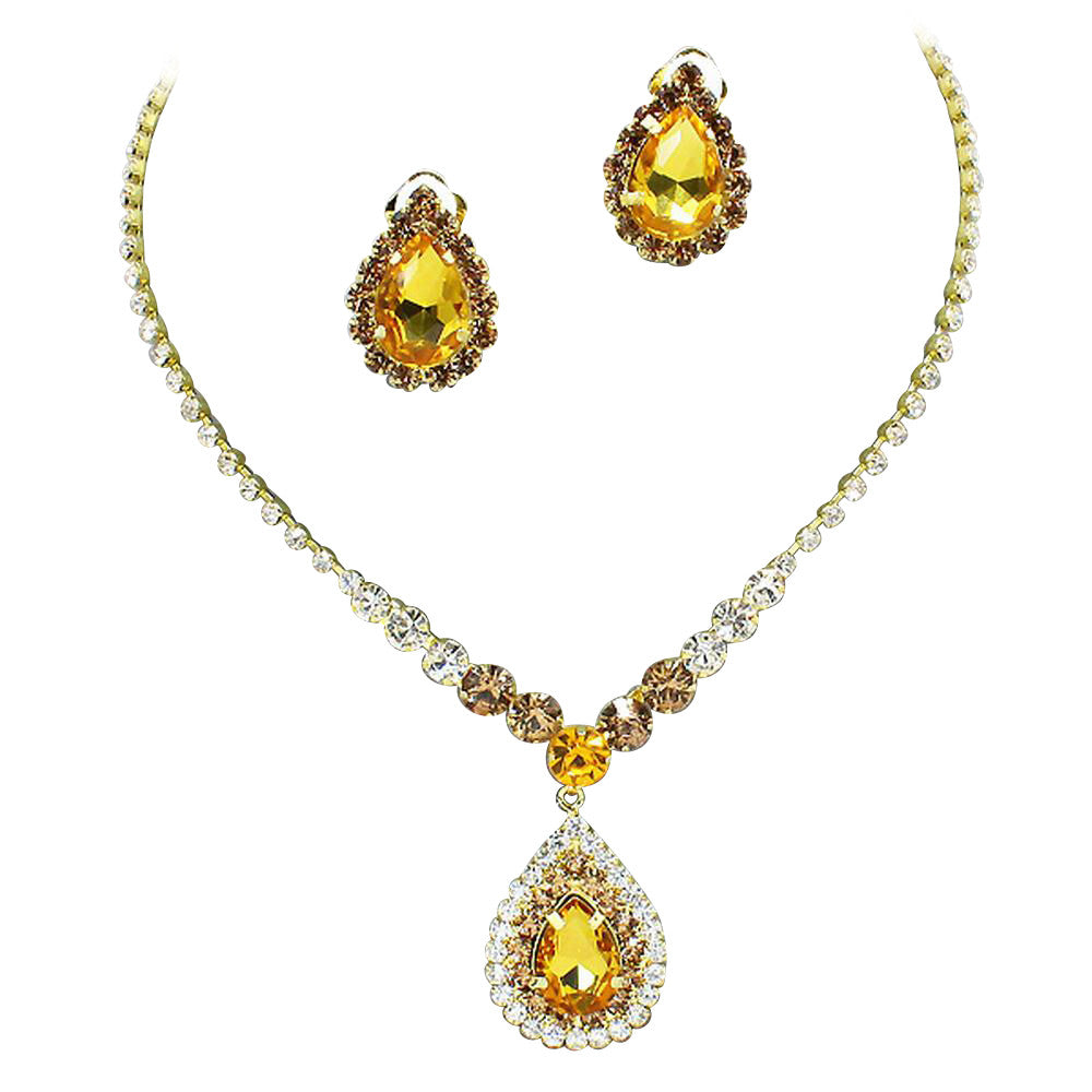 Stunning Y Drop Clip ON Golden Topaz Crystal Bridal Necklace Bridesmaids E7