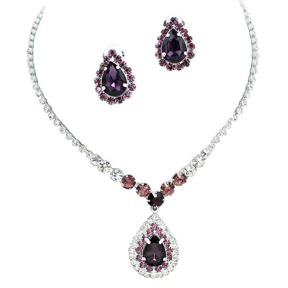 Stunning Y Drop Clip ON Eggplant Lilac Lavendar Crystal Bridal Necklace Bridesmaids E2