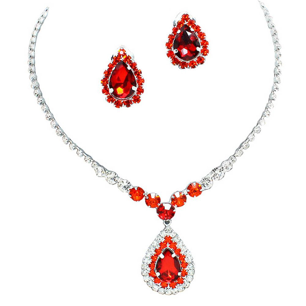 Stunning Y Drop Clip ON Red Crystal Bridal Necklace Bridesmaids E1