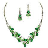 Elegant Emerald Green W Lime Green Accents V-Shaped Garland Bridesmaid Evening Necklace Set Gold Tone K6