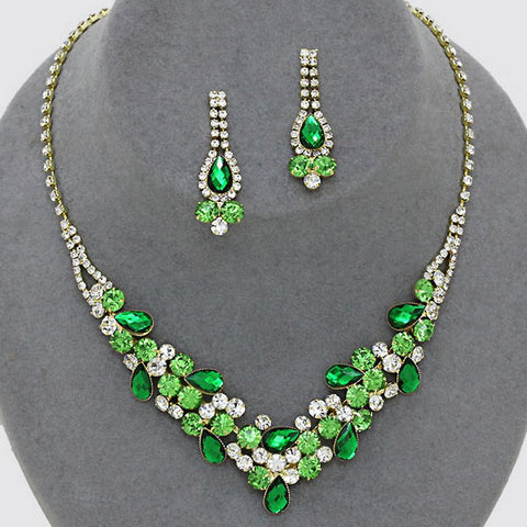 45ff67e51962a0 ... Elegant Emerald Green W Lime Green Accents V-Shaped Garland Bridesmaid  Evening Necklace Set Gold