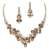 Elegant Bronze Brown V-Shaped Garland Prom Bridesmaid Evening Necklace Set K2