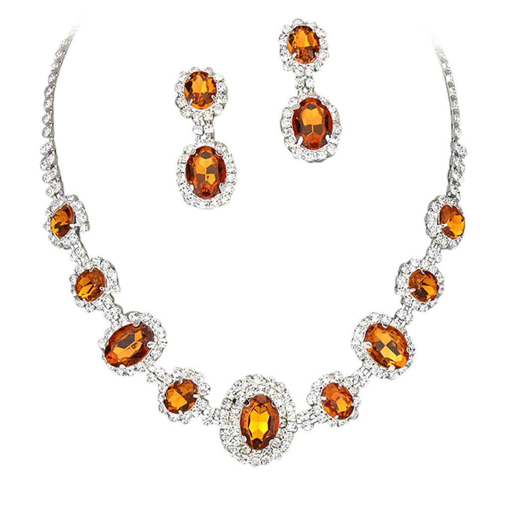 Bright Brown Regal Statement Bridal Bridesmaid Necklace Earring Set Silver Tone
