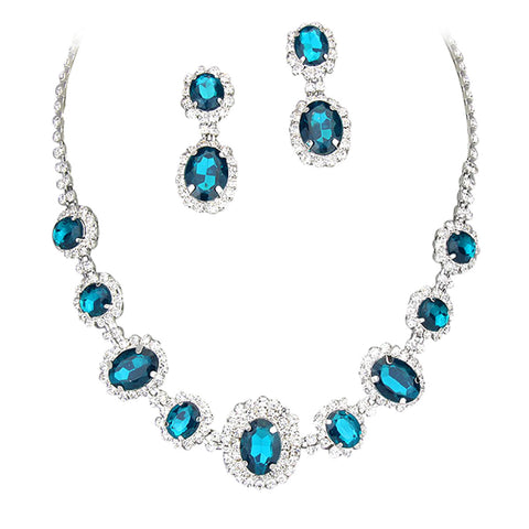 Bright Aqua Regal Statement Bridal Bridesmaid Necklace Earring Set Silver Tone