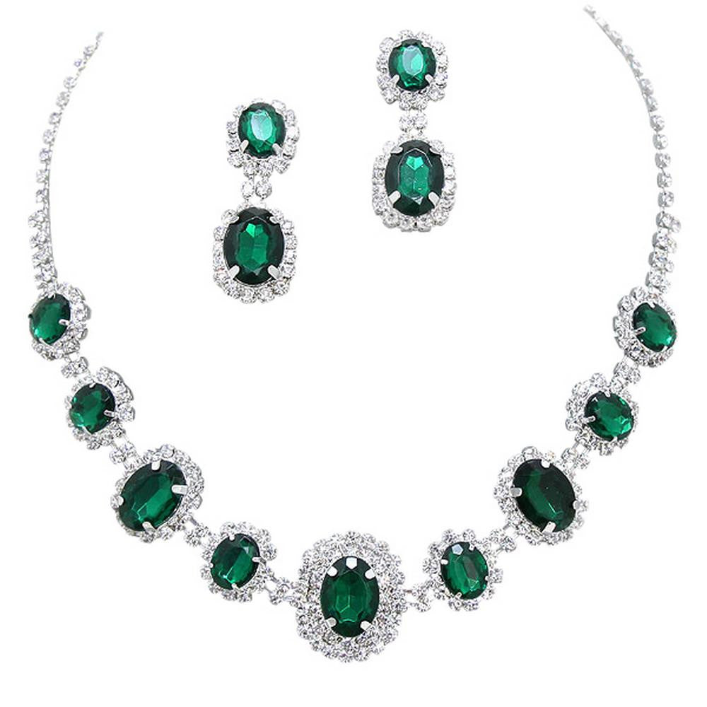 Emerald Green Regal Statement Bridal Bridesmaid Necklace Earring Set Silver Tone G2