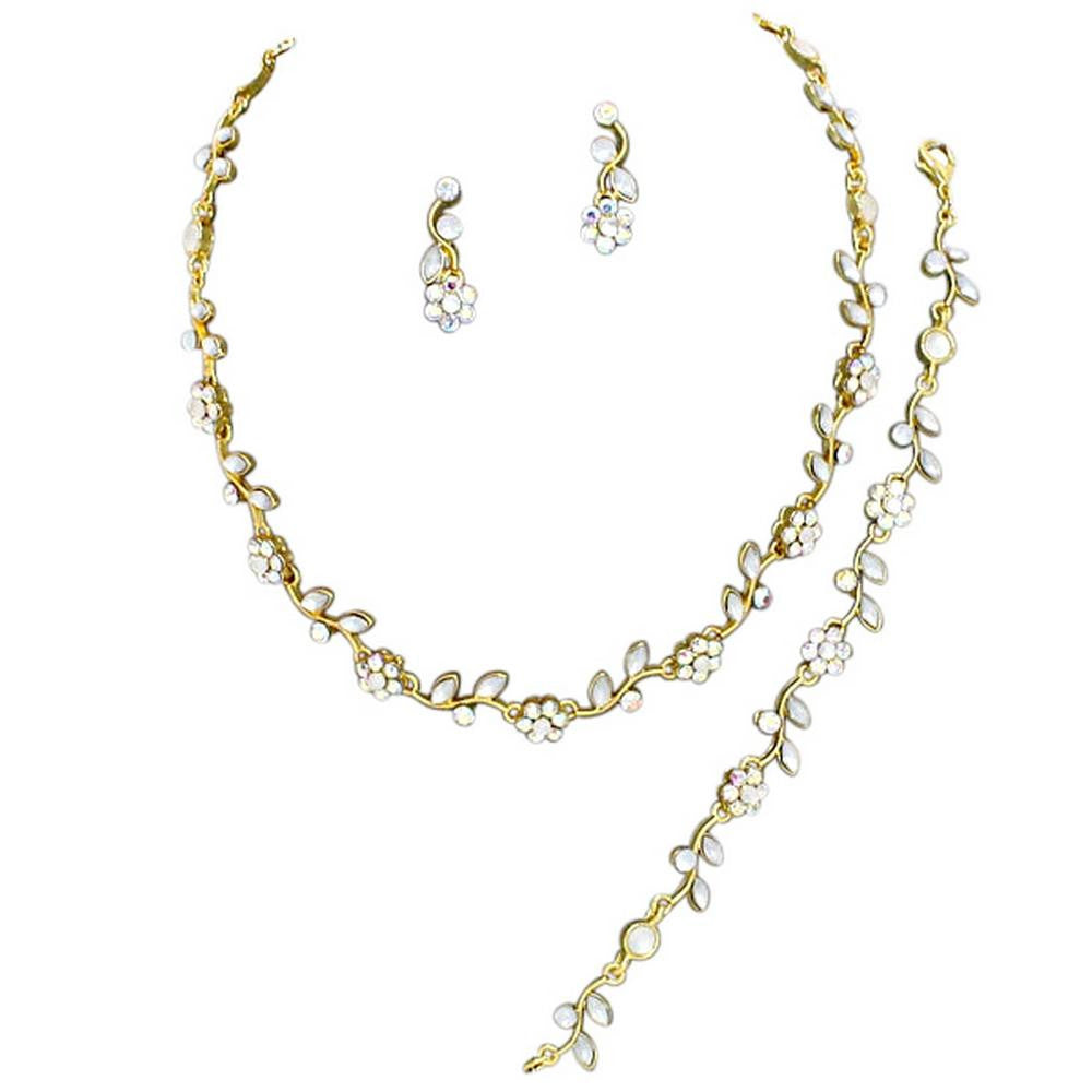 Affordable Gold Tone Iridescent AB Color Crystal Bridesmaid 3 Bridal Necklace, Earring, Bracelet Set I4