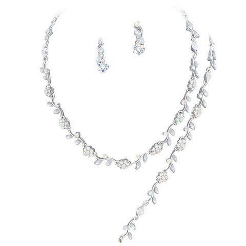 Affordable Iridescent Color Crystal Bridesmaid 3 Bridal Necklace, Earring, Bracelet Set Silver Tone I6