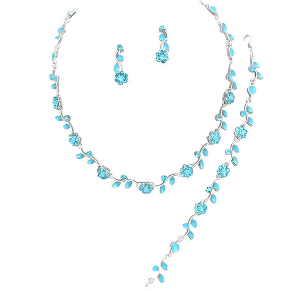 Affordable Aqua Blue Crystal BRIDESMAID 3 Bridal Necklace Earring Bracelet Set I2
