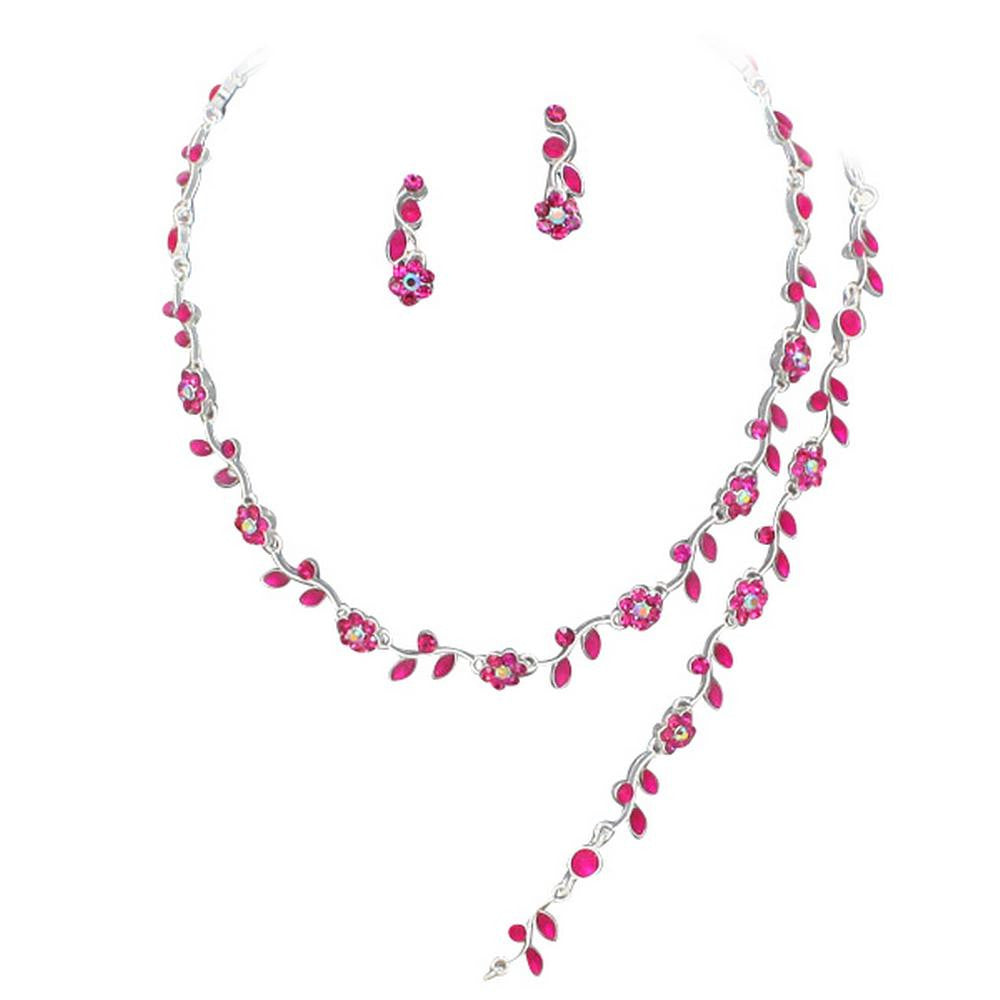 Affordable Fuchsia Pink Crystal Bridesmaid 3 Bridal Necklace, Earring, Bracelet Set H4
