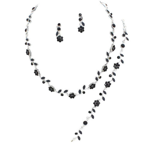 Affordable Black Crystal BRIDESMAID 3 Bridal Necklace, Earring, Bracelet Set J5
