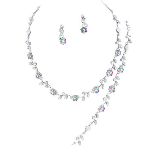 Affordable Multi Color Crystal Bridesmaid 3 Bridal Necklace, Earring, Bracelet Set I5