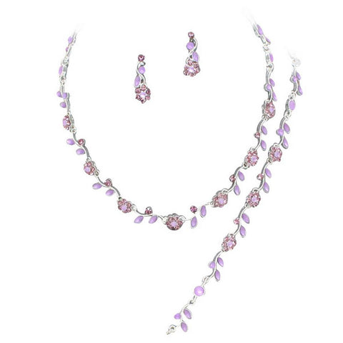 Affordable Lavender Purple Crystal Bridesmaid 3 Bridal Necklace, Earring, Bracelet Set J4
