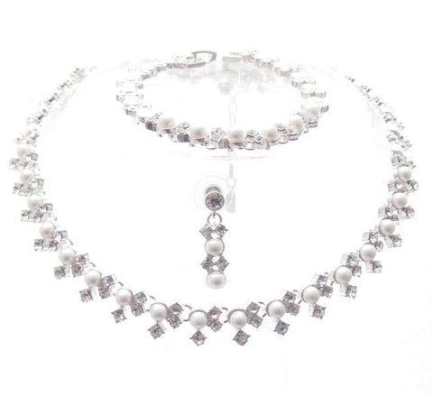 3 PIECE Linear White Pearl 3  Bridal Necklace Bracelet Earring Set Silver Tone