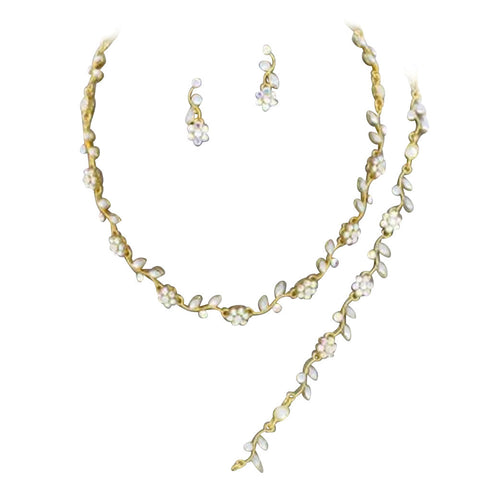 Affordable Gold Tone Color Crystal Bridesmaid 3 Bridal Necklace, Earring, Bracelet Set J2