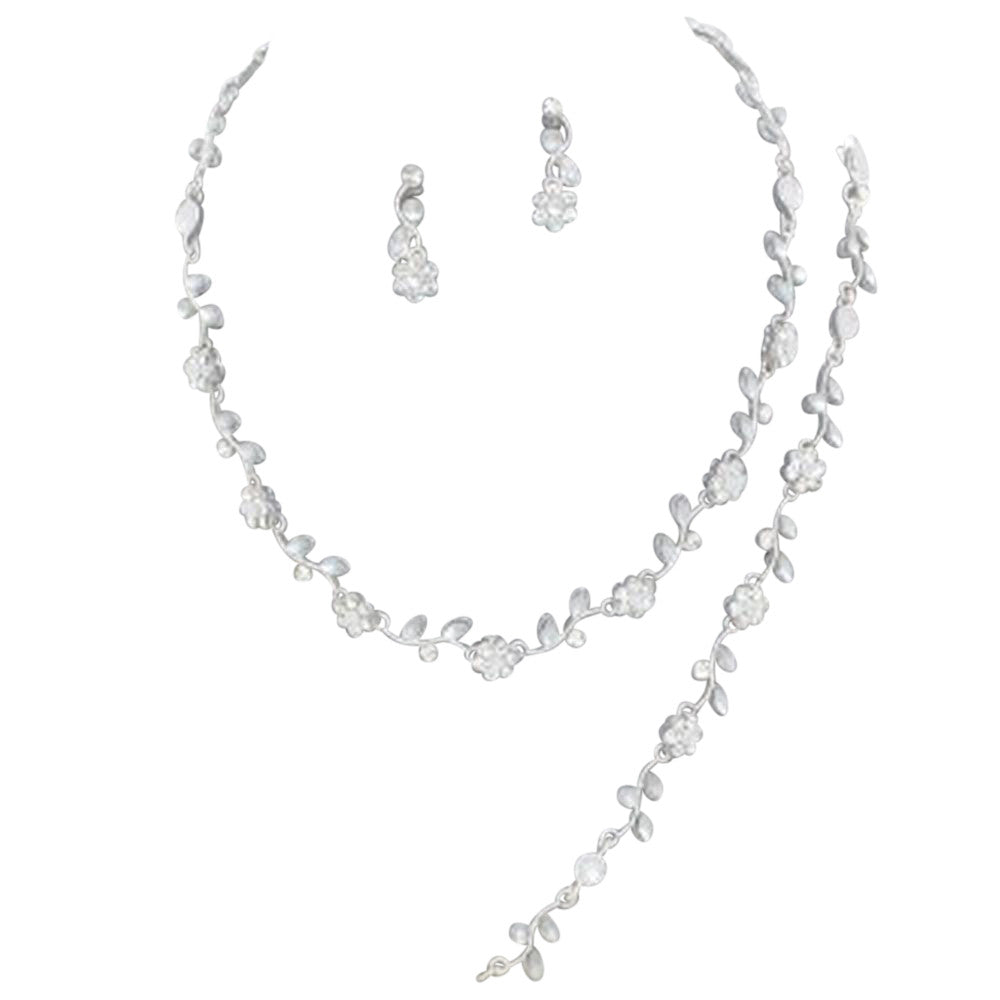 Affordable Clear Crystal Bridesmaid 3 Bridal Necklace, Earring, Bracelet Set Silver Tone J1
