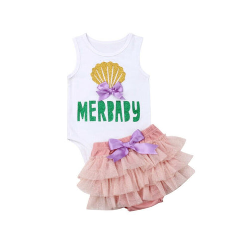 Newborn Baby Girl Cotton Summer Clothes Mermaid Romper Vest Tops Lace Tutu Shorts Dress Skirts Toddler Kids Outfits Clothing Set