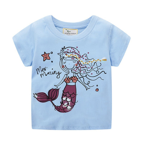jumping meters Girls Tees Tops Mermaid Summer Baby Clothes Cotton Knitted Kids T shirts Fashion Girls Shirts Children Clothing
